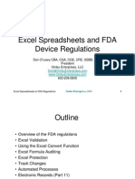 Excel Spreadsheets and FDA Device Regulations