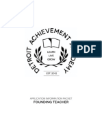 Detroit Achievement Academy Founding Teacher Position Information Packet