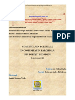 Proiect Semestrul I Comunicarea Ecleziala in Parohia Popesti Leordeni / 2013