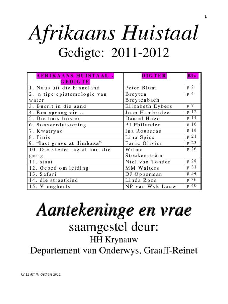 Afrikaans Huistaal: Gedigte: 2011-2012