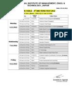 II MTT, Exam Time Table