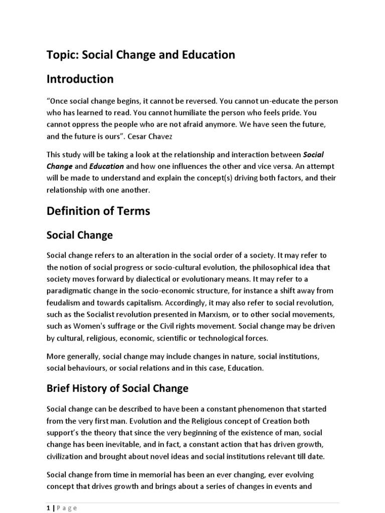 factors of social change in education