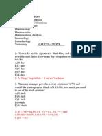 Pharmaceutical Calc Exam