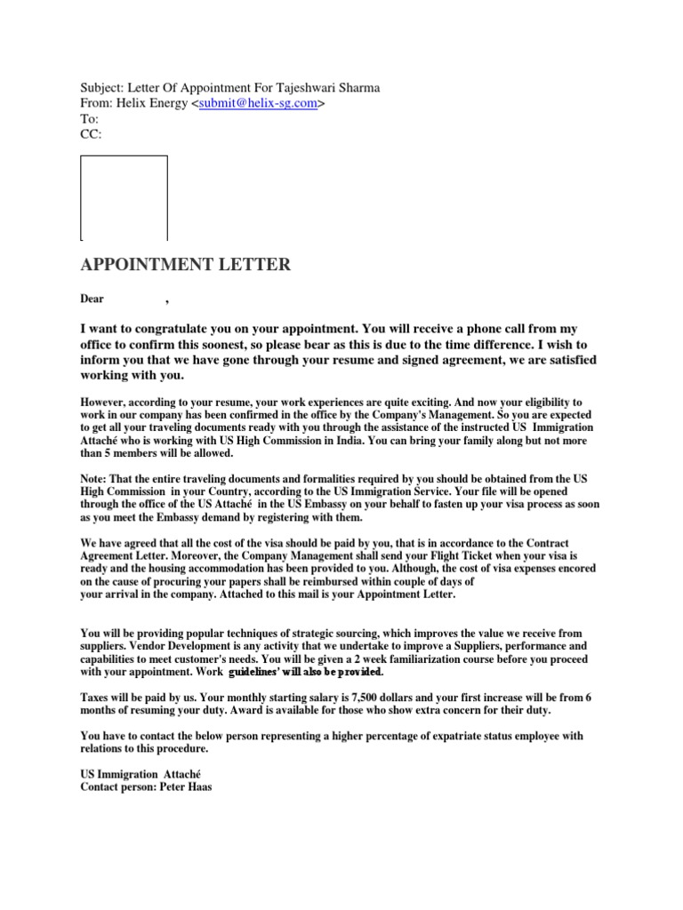 Appointment Letter | Travel Visa | Employment