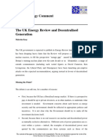 The UK Energy Review and Decentralised Generation