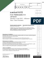 Edexcel C4 June 2012 question paper (6666)