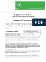 Budget Impact of the Texas Taxpayers' Savings Grant Program