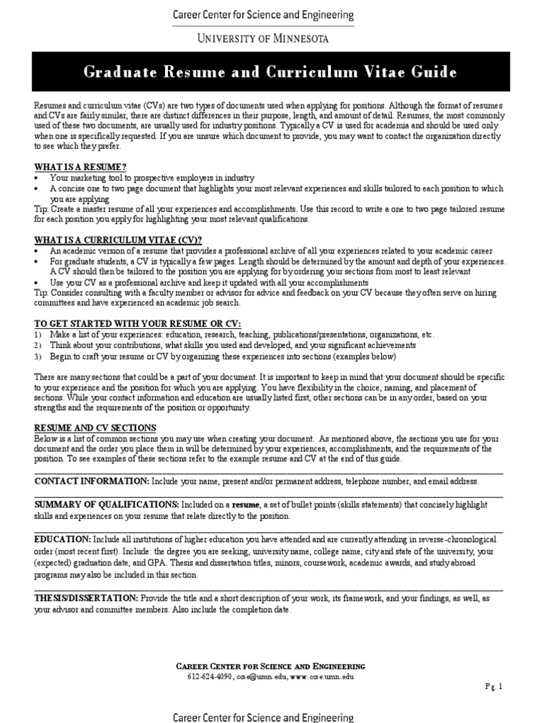 Graduate Resume And Curriculum Vitae Guide Resume Nanoparticle