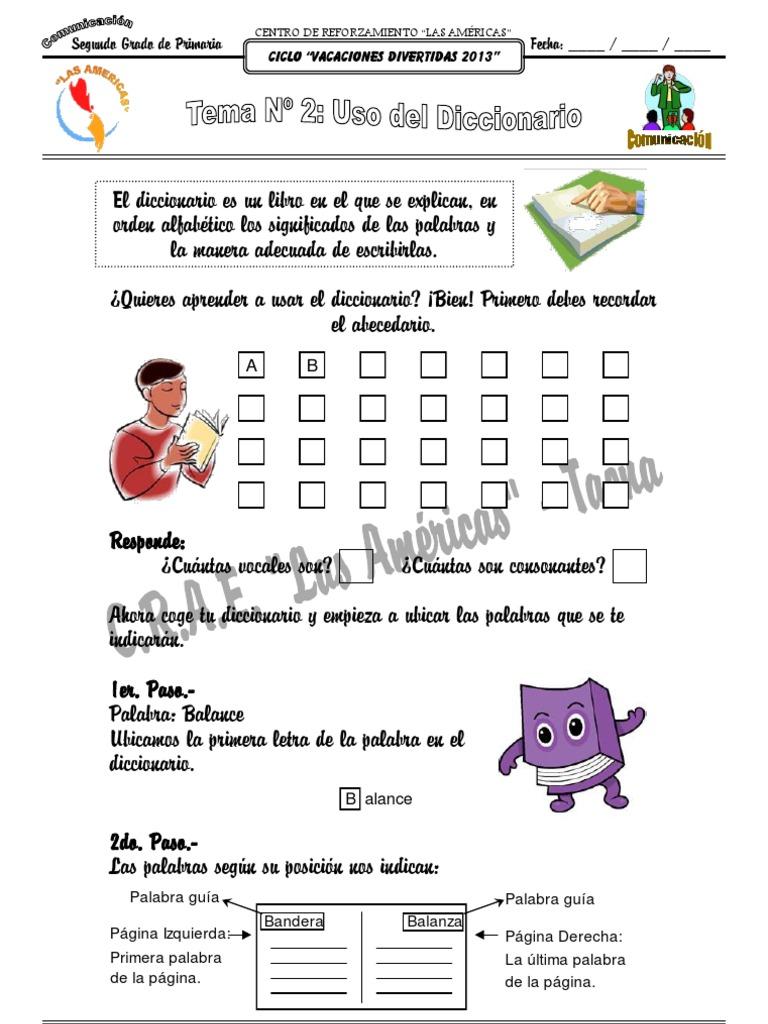 Tema Nº 2: Uso del Diccionario (Comunicación / 2do Grado)