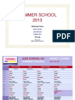 Jazz School UK Summer School 2013 Timetable