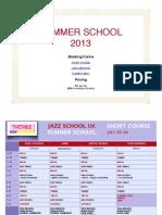 Jazz School UK Summer School 2013 Timetable