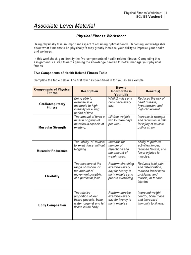 Collection of Components Of Fitness Worksheet Sharebrowse – Fitt Principle Worksheet