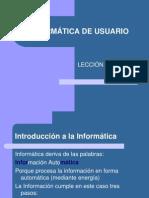 INFORMÁTICA DE USUARIO Características de la PC
