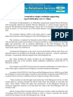 House of Representatives adopts resolution supporting  filing of arbitration case vs. China