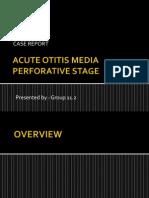 Acute otitis media presentation