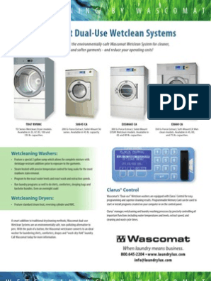 Wascomat Dual-Use Wetclean Systems on