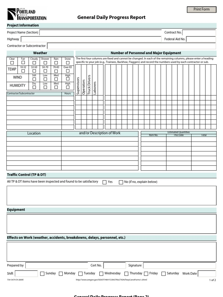 General Daily Progress Report Format – Daily Report Format