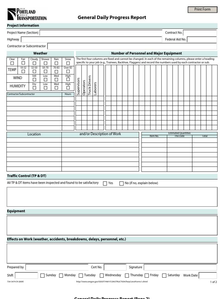 general daily progress report format