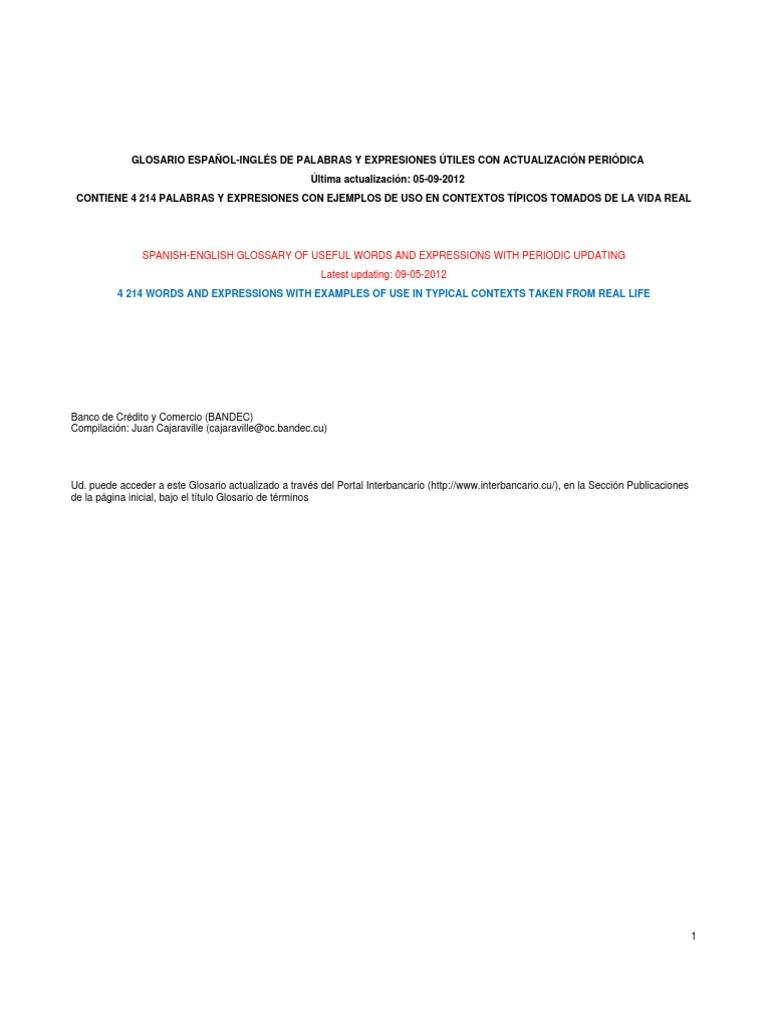 GLOSARIO ESPAÑOL-INGLES DE PALABRAS Y EXPRESIONES UTILES (05 09 ...