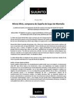 MIREIA MIRÓ CAMPEONA DE ESPAÑA 2013 ESQUI DE MONTAÑA. Suunto. Nota prensa oficial 21ene13
