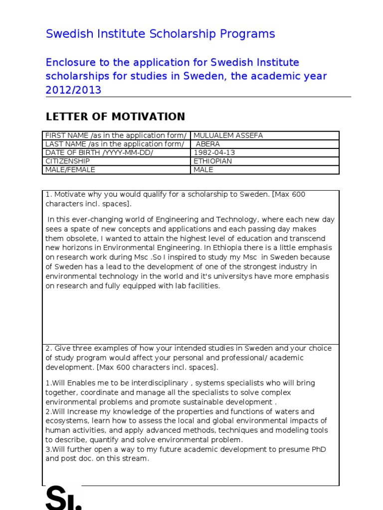 Motivation letter for si study scholarship 2012 2013 motivation letter for si study scholarship 2012 2013 environmental issues environmental engineering spiritdancerdesigns Image collections