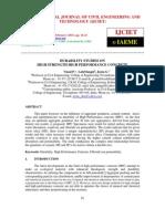 DURABILITY STUDIES ON   HIGH STRENGTH HIGH PERFORMANCE CONCRETE