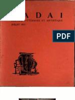 D A D A 1 RECUEIL LITTÉRAIRE ET ARTISTIQUE JUILLET 1917