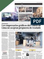 Los empresarios gráficos del Centro de Lima no aceptan propuesta de traslado