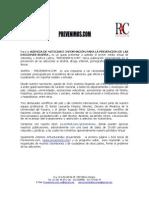 PRESENTACIÓN AGENCIA DE NOTICIAS E INFORMACIÓN PARA LA PREVENCIÓN DE LAS ADICCIONES ANIPRA. - PREVENIMOS.COM