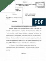 Fulton Co. Judge's Order to Move Monroe-Bibb Border
