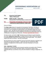 Open Letter - Governor Scott Walker  RE