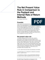 NPV Rule in Comparison to Payback and IRR Methods