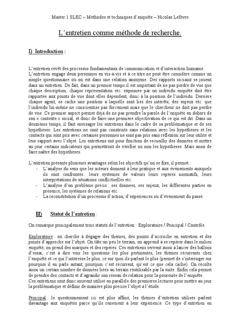 TECHNIQUE D'ENTRETIEN | Sociologie | Communication