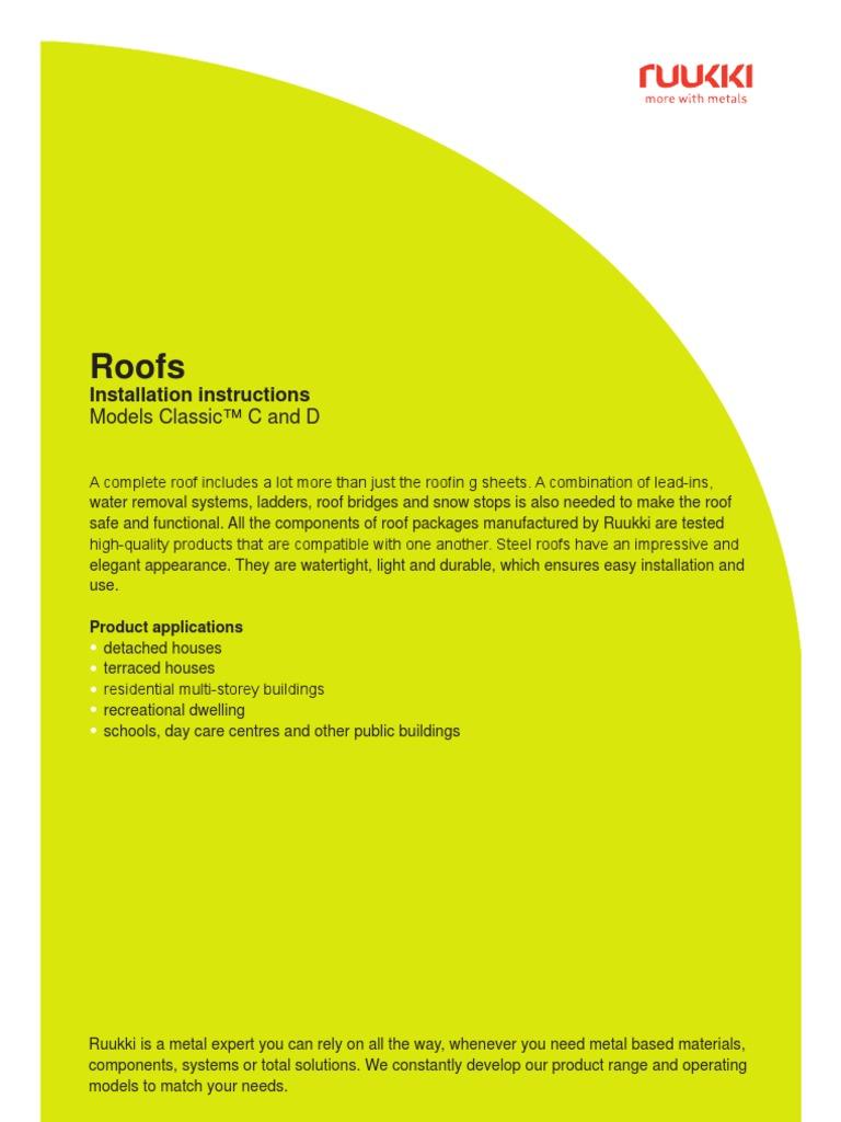 Ruukki Classic C D Installation Instructions Roof Sheet Metal