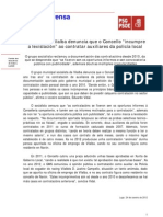 Nota policía local de Vilalba