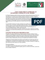 Modernizar el Marco Regulatorio de las Sociedades Cooperativas de Ahorro