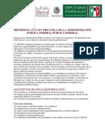 Reformas a la Ley Orgánica de la Administración Pública Federal