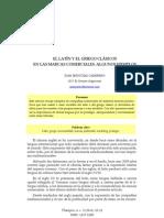 El Latin y El Griego Clasicos en Las Marcas Comerciales Algunos Ejemplos Juan Jesus Diaz Carretero