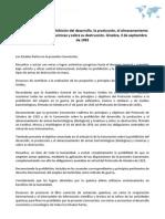 Convención sobre la prohibición del desarrollo, la producción, el almacenamiento y el empleo de armas químicas y sobre su destrucción. Ginebra, 3 de septiembre de 1992