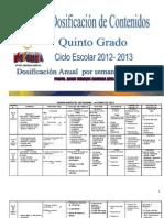 Dosificacion Bimestral Por Semana Quinto Grado 2012-2013
