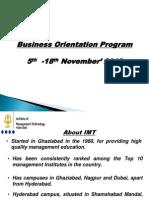 Business orientation program ( IMT Hyd)
