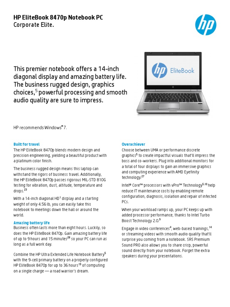 HP EliteBook 8470p Datasheet | Laptop | Personal Computers
