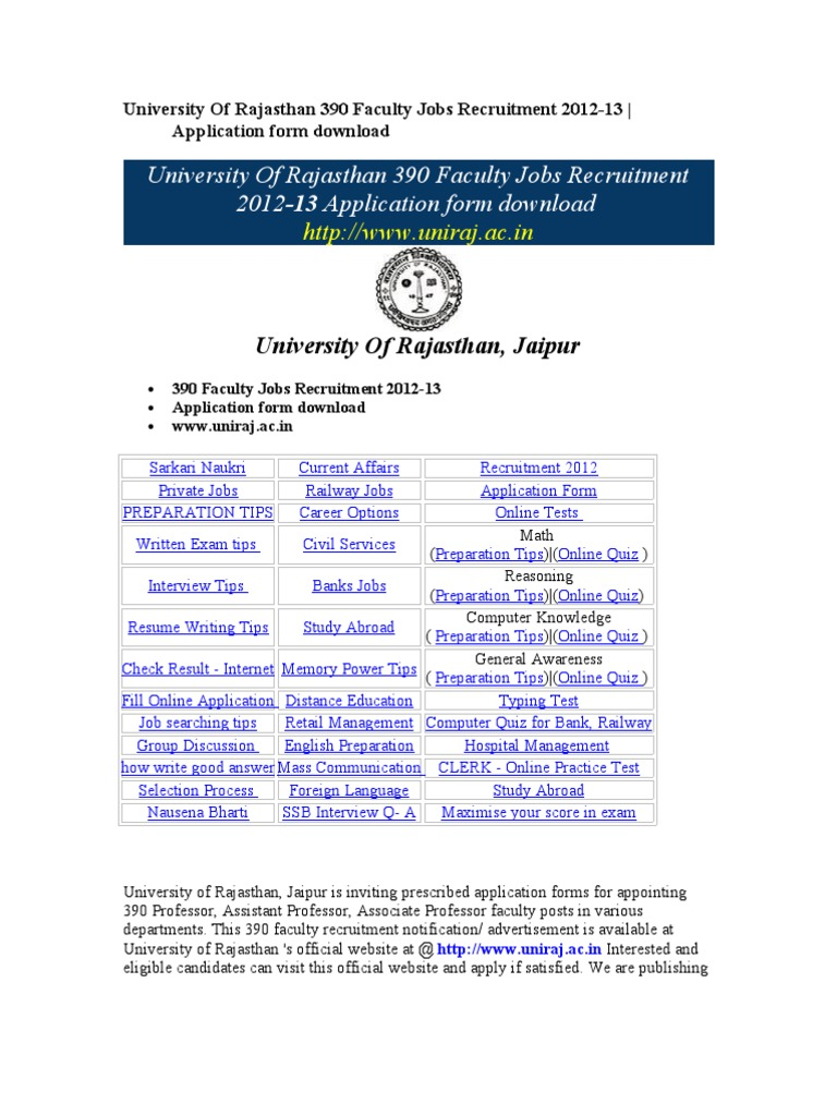 University Of Rajasthan 390 Faculty Jobs Recruitment 2012-13 ...