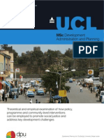 MSc Development Planning and Administration at the Development Planning Unit. University College London