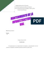 Mantenimiento de La Infraestructura Vial