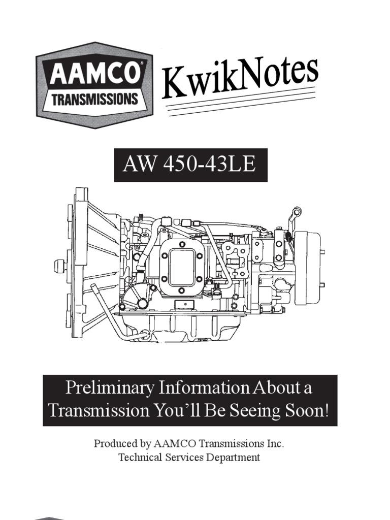 aw 450 kwicknotes clutch transmission mechanics rh scribd com 450-43LE Parts 450-43LE Valve Body