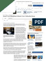 Israel Vote Sharpens Debate Over Orthodox Sway - WSJ