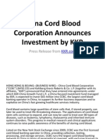 China Cord Blood Corporation Announces Investment by KKR - PR From KKR & David Liu