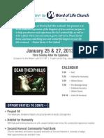 Word of Life Church Bulletin for January 15 & 27, 2013