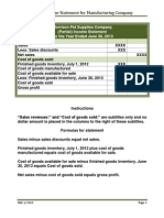 Partial Income Statement for Manufacturing Company